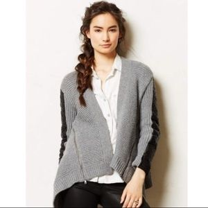 Anthropologie Moth Gray Wool Cardigan with Leather